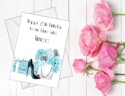 Handmade Birthday Card (Blue Florals)