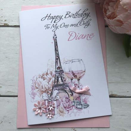 Handmade Birthday Card (Eiffel Tower)