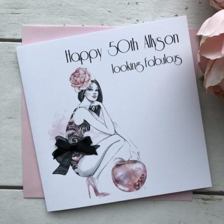 Handmade Birthday Card (Jeweled Apple)