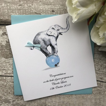 Handmade New Baby Card 'Baby Elephant'