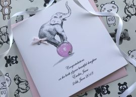 Handmade New Baby Card (Baby Elephant)