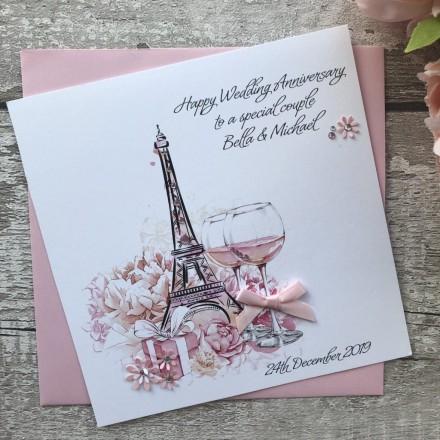 Handmade Wedding Anniversary Card 'Eiffel Tower'