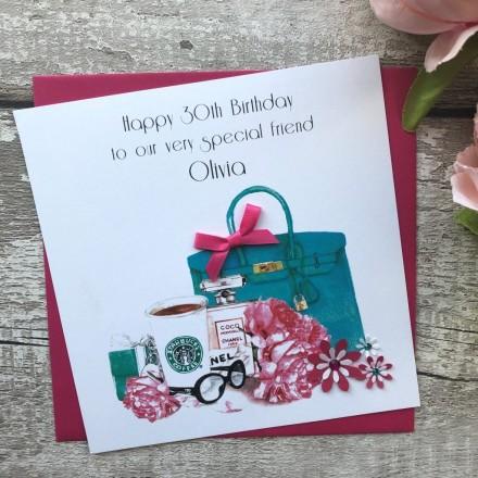 Handmade Birthday Card 'Pink'