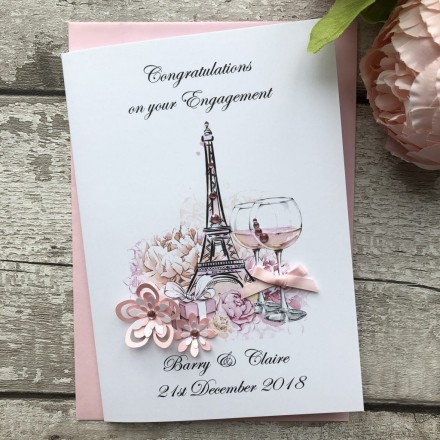 Handmade Engagement Card (Eiffel Tower)