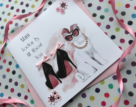 Handmade Mother's Day Card (White Cat)