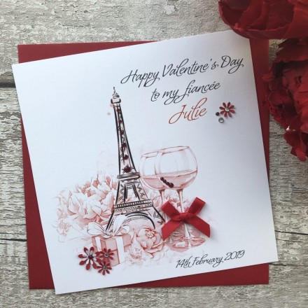 Handmade Valentines Card 'Eiffel Tower'