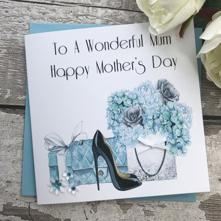 Handmade Mother's Day Card (Blue Florals)