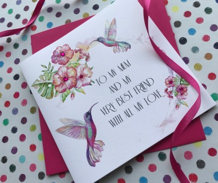 Handmade Mother's Day Card (Floral Humming Birds)