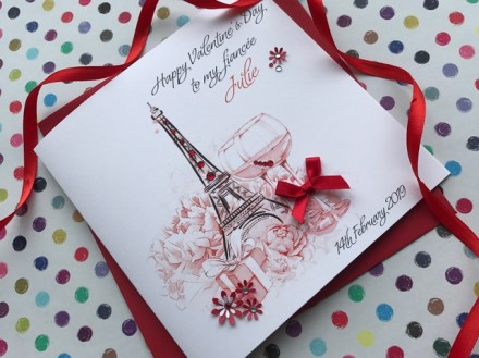 Handmade Valentines Card (Eiffel Tower)