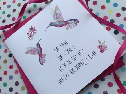 Handmade Mother's Day Card (Humming Birds)