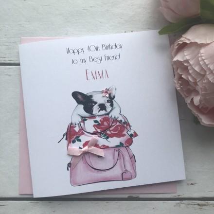 Handmade Birthday Card (Bull Dog)