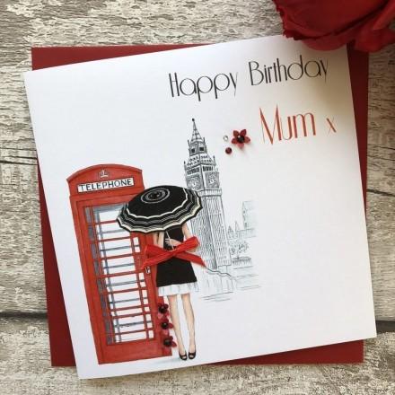 Handmade Birthday Card 'Red Telephone Box'