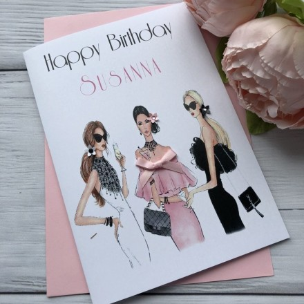 Handmade Birthday Card 'Girls Night Out'