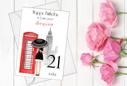 Handmade Birthday Card (Red Telephone Box)