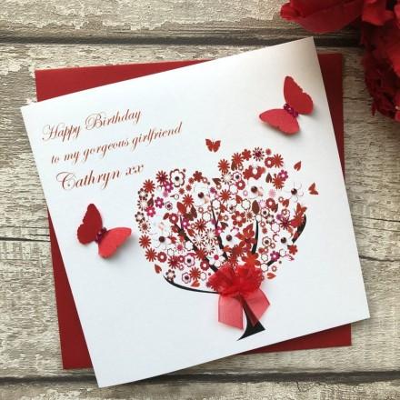 Handmade Birthday Card (Floral Heart Tree)