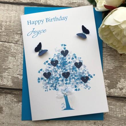 Handmade Personalised Birthday Card 'Sapphire Tree'