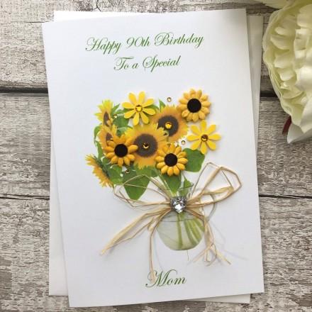 Personalised Handmade Birthday Card Sunflower