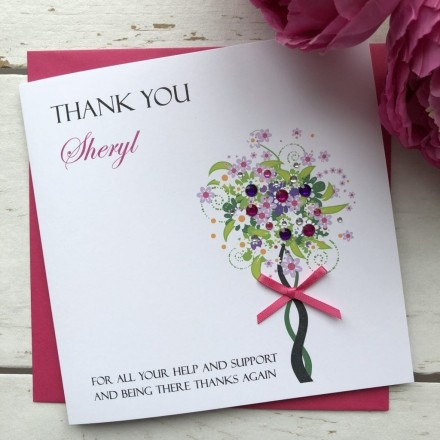 Handmade Thank You Card 'Jeweled Tree'