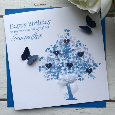 Handmade Personalised Birthday Card 'Sapphire Tree'