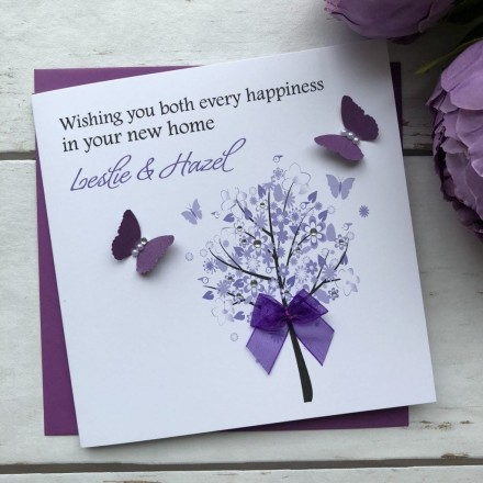 "Handmade New Home Card ""Floral Tree"""
