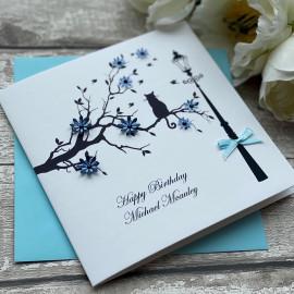 Handmade Birthday Card 'Cat in Branch'
