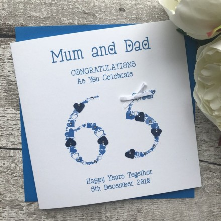 Handmade 65th Blue Sapphire Wedding Anniversary Card