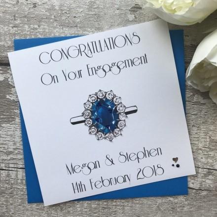 Handmade Engagement Card 'Blue Sapphire'