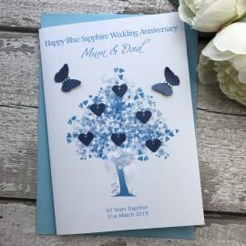 Handmade 65th Blue Sapphire Anniversary Card