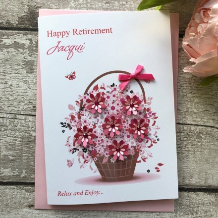 Handmade Retirement Card 'Floral Basket'