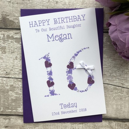 Handmade Birthday Card 'Heart Numbers'