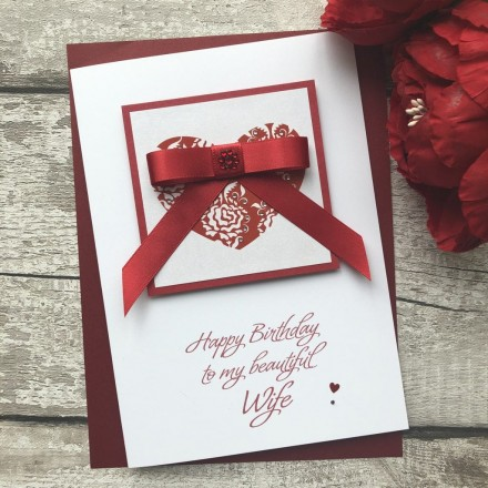 Handmade Birthday Card 'Ruby Bow'