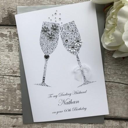 Handmade Birthday Card 'Champagne Toast'