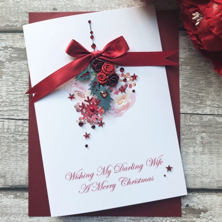 Handmade Christmas Card 'Rose Buds'