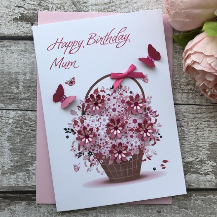 Handmade Birthday Card 'Floral Basket'