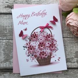 Handmade Birthday Card 'Floral Basket'