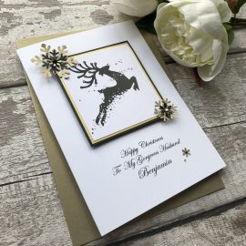 Luxury Handmade Christmas Card 'Golden Reindeer'