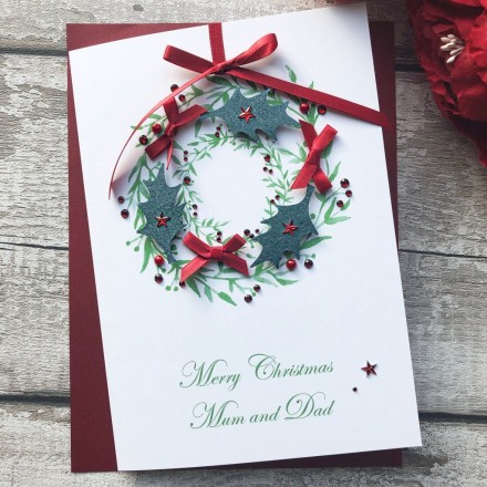 Handmade Christmas Card 'Holly Wreath'