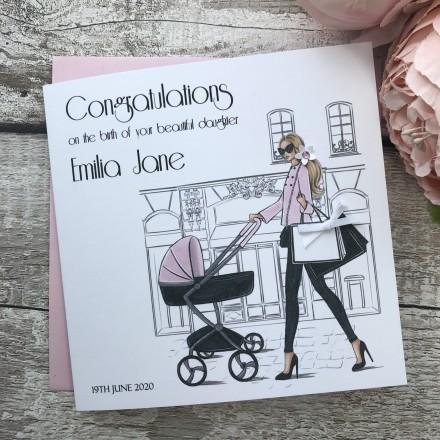 Handmade New Baby Card 'Town Baby'