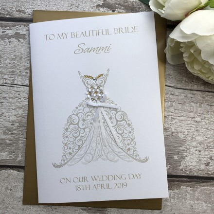 Handmade Wedding Groom to Bride Card 'Ornate Dress'
