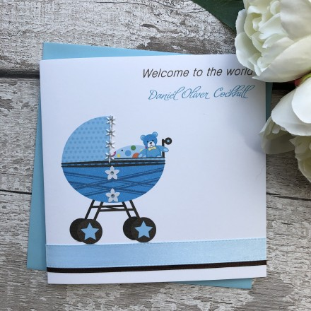 Handmade New Baby Card 'Cute Pram'