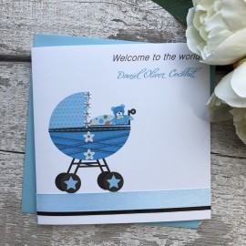 Handmade New Baby Card 'Cute Pram'
