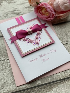 "Luxury Handmade Mother's Day Card ""Pink Rosebud Heart"""