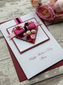 "Luxury Handmade Mother's Day Card ""Rosebud Filled Heart"""
