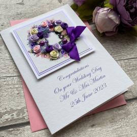 "Luxury Handmade Wedding Card ""Purple Roses"""